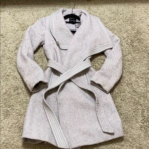 Grey knit trench coat